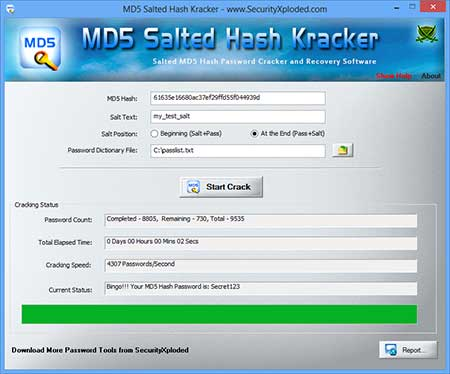 MD5 Salted Hash Kracker screenshot