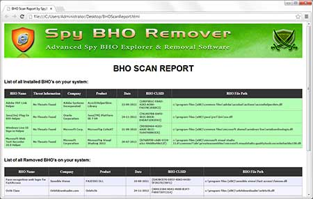 SpyBHORemover export scan results