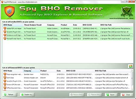 SpyBHORemover main screen