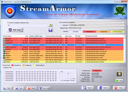StreamArmor showing the snapshot view